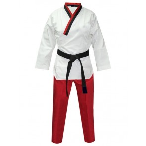 White And Maroon Taekwondo Gi