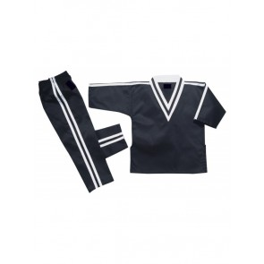 Kickboxing Uniform Black with White Stripe
