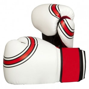 Red Stripes White Boxing Gloves