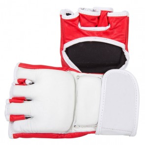 White And Red MMA Gloves