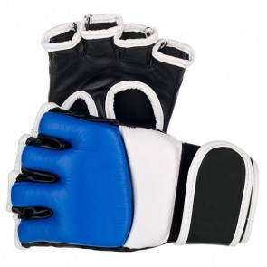 Blue, White And Black MMA Gloves