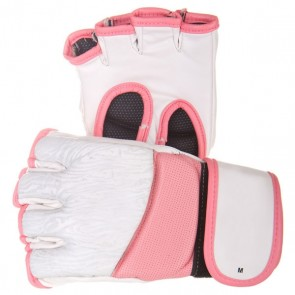 White MMA Gloves With Pink Edges