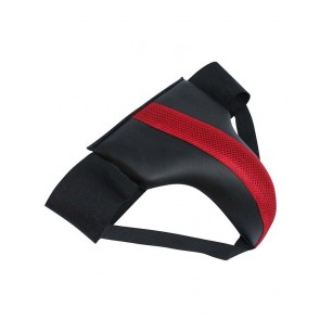 Leather Groin Guard Black And Red