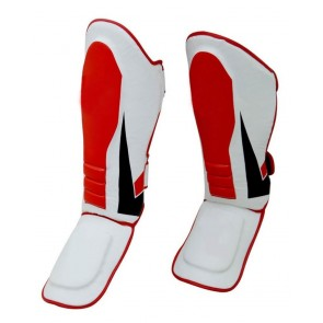 MMA Shin Guards White And Red