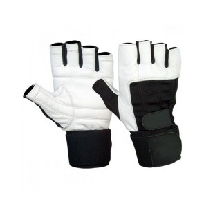 White And Black Gym Gloves