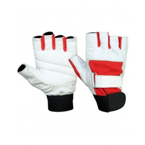 White And Red Weight Lifting Gloves